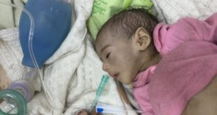 Severely malnourished five-month-old Atan, in his hospital bed in Sana'a. Photograph: Krishnan Guru-Murthy/ITN